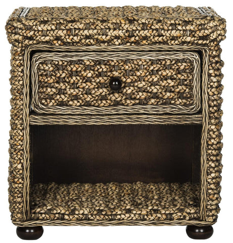 "MUSA BRAIDED BROWN WASH WICKER NIGHTSTAND WITH DRAWER AND 8""H STORAGE"