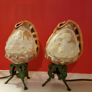 pair of cameo conch night light lamp