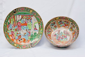Antique Chinese Export Bowl and Plate Set