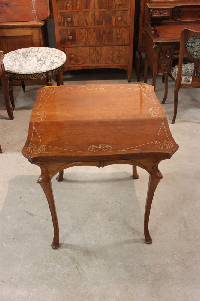 Art-Nouveau Walnut Square Table