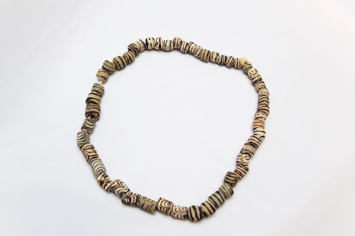 Stripped Glass Beads Necklace
