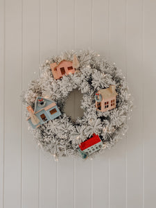 Frosted Christmas Village Wreath - Style 1