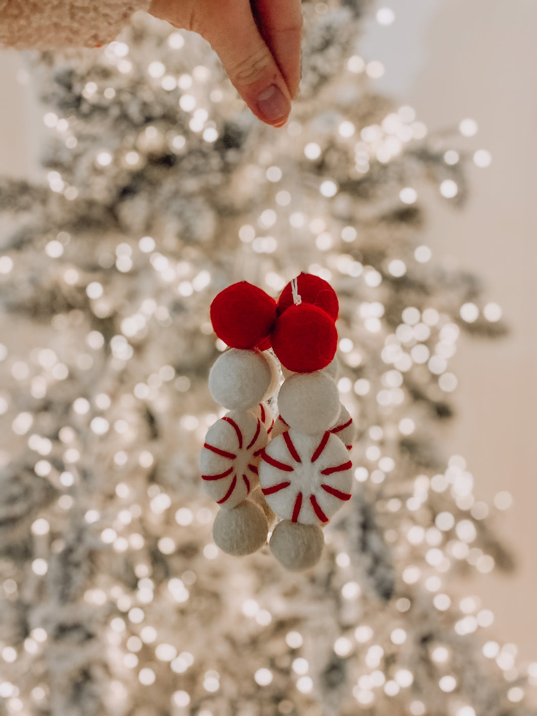 Peppermint Candy Felt Ornament - Beige & White