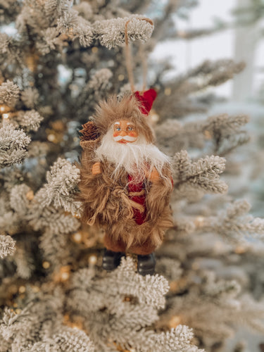 Red with Brown Fur Pinecone Santa Ornament