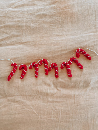 Candy Cane Garland - Red