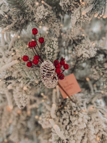 Frosted Pine Cone & Berries Pick - 77208