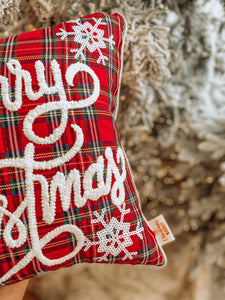 Tartan Merry Christmas Cushion Cover