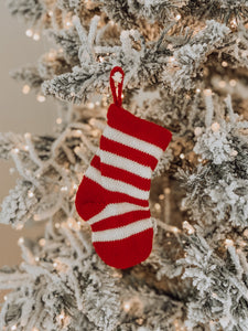 Knitted Sock Ornament - Stripe