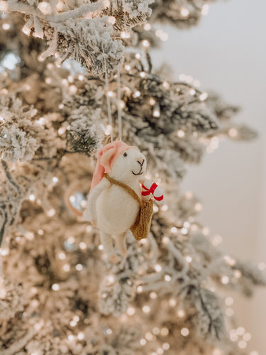 Merry Mice - Candy Cane Messenger Mouse Ornament