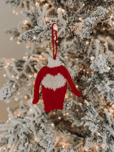 Knitted Sweater Ornament - Red