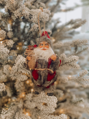 Red with Grey Fur Pinecone & Berries Santa Ornament