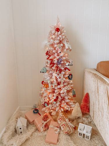 Pre Lit Frosted Pink Tree 120cm