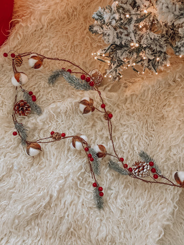 Cotton Pine Cone Berry Garland - 73049