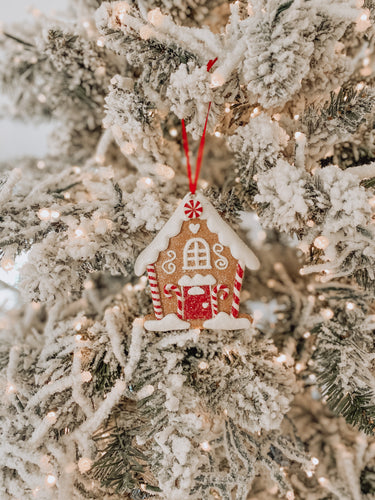 Vintage Gingerbread House Clay Ornament