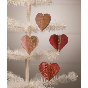 Sweetheart Glitter Foil Ornaments  Set of 4 - TF0100