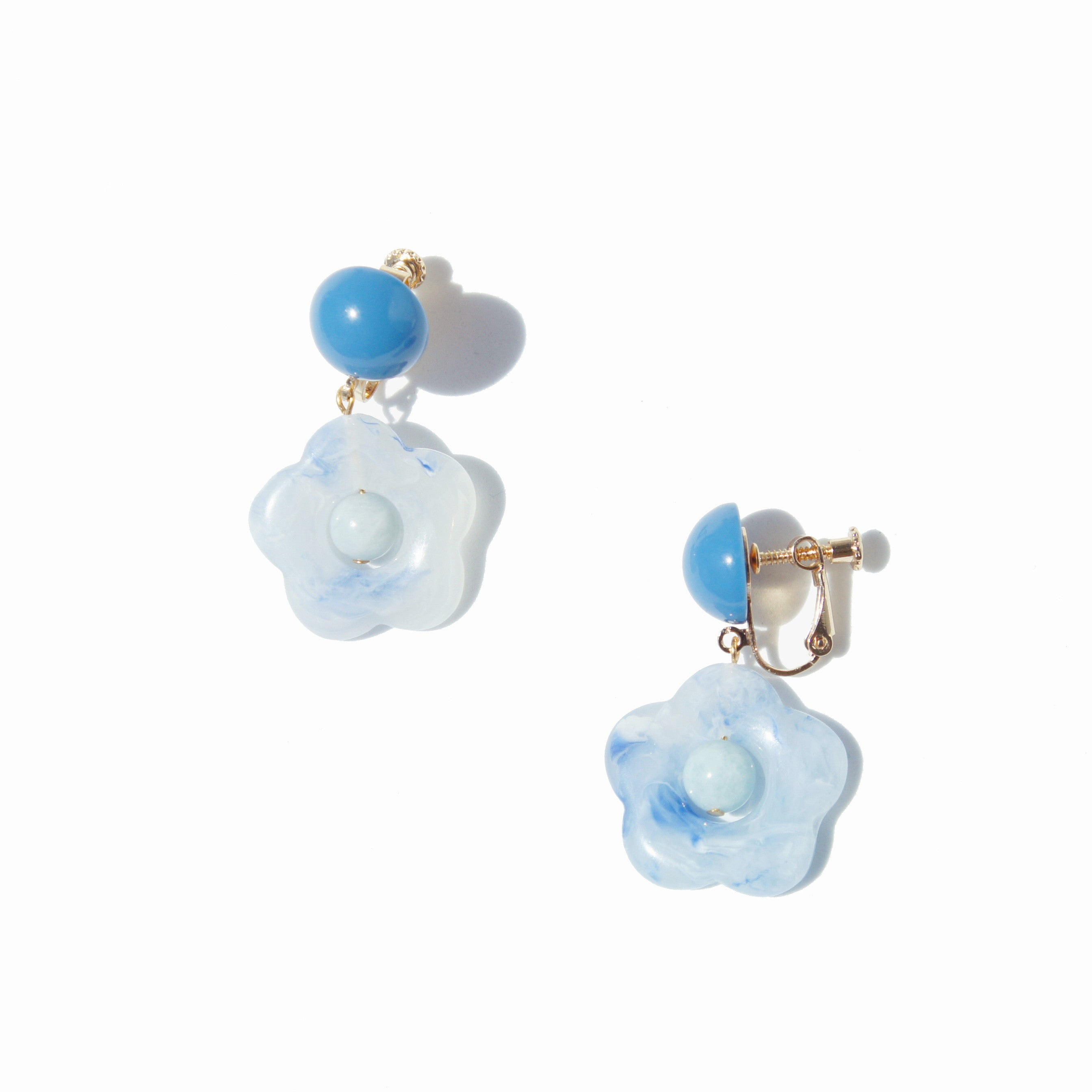 Hana Flower and Gemstone Drop Clip-on Earrings
