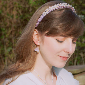 *REAL FLOWER* Flower Child Hydrangea and Lilac Ruched Stain Headband