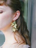 Load image into Gallery viewer, *REAL FLOWER* Libelle Hydrangea Flower Drop Earring - Lemongrass