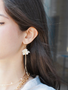 *REAL FLOWER* Savill Lace Hydrangea Asymmetrical Drop Earrings