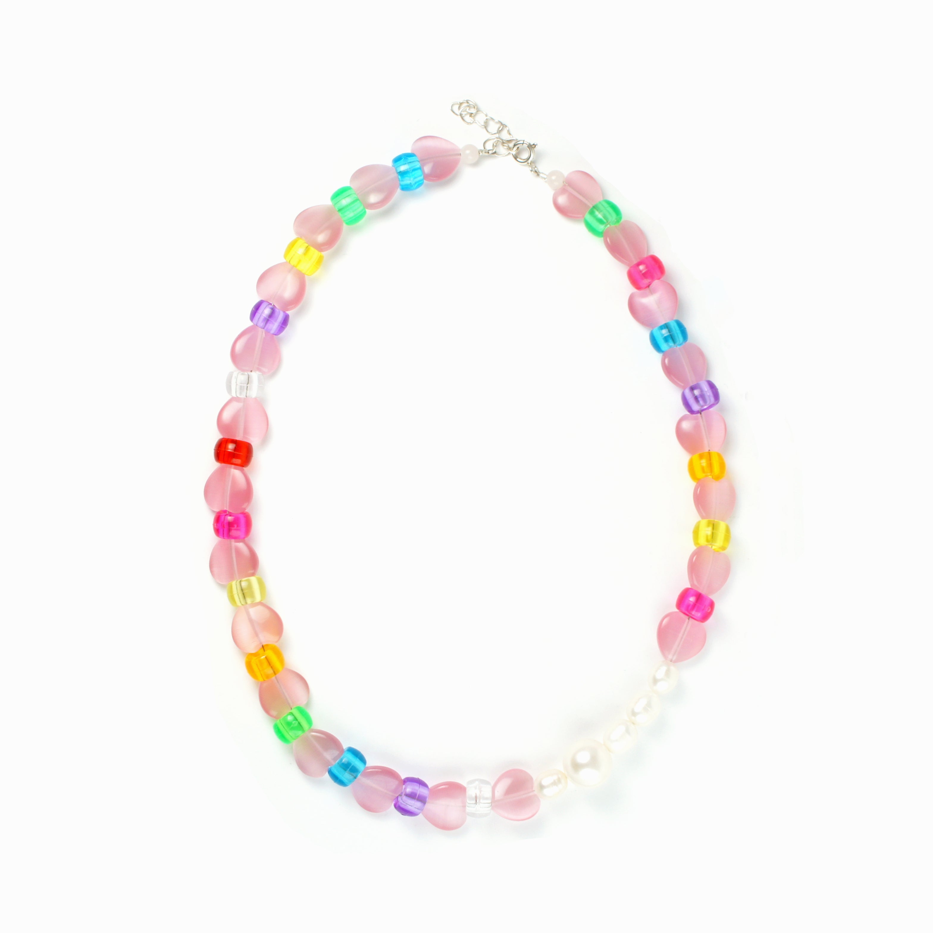 Rini Cats Eye Heart and Freshwater Pearl Rainbow Necklace