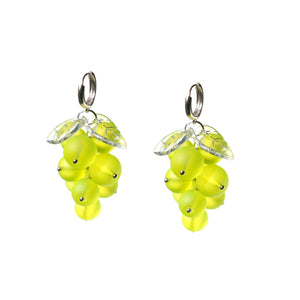 Very Grapeful Green Grapes Earrings, Sterling Silver Huggie Hoops