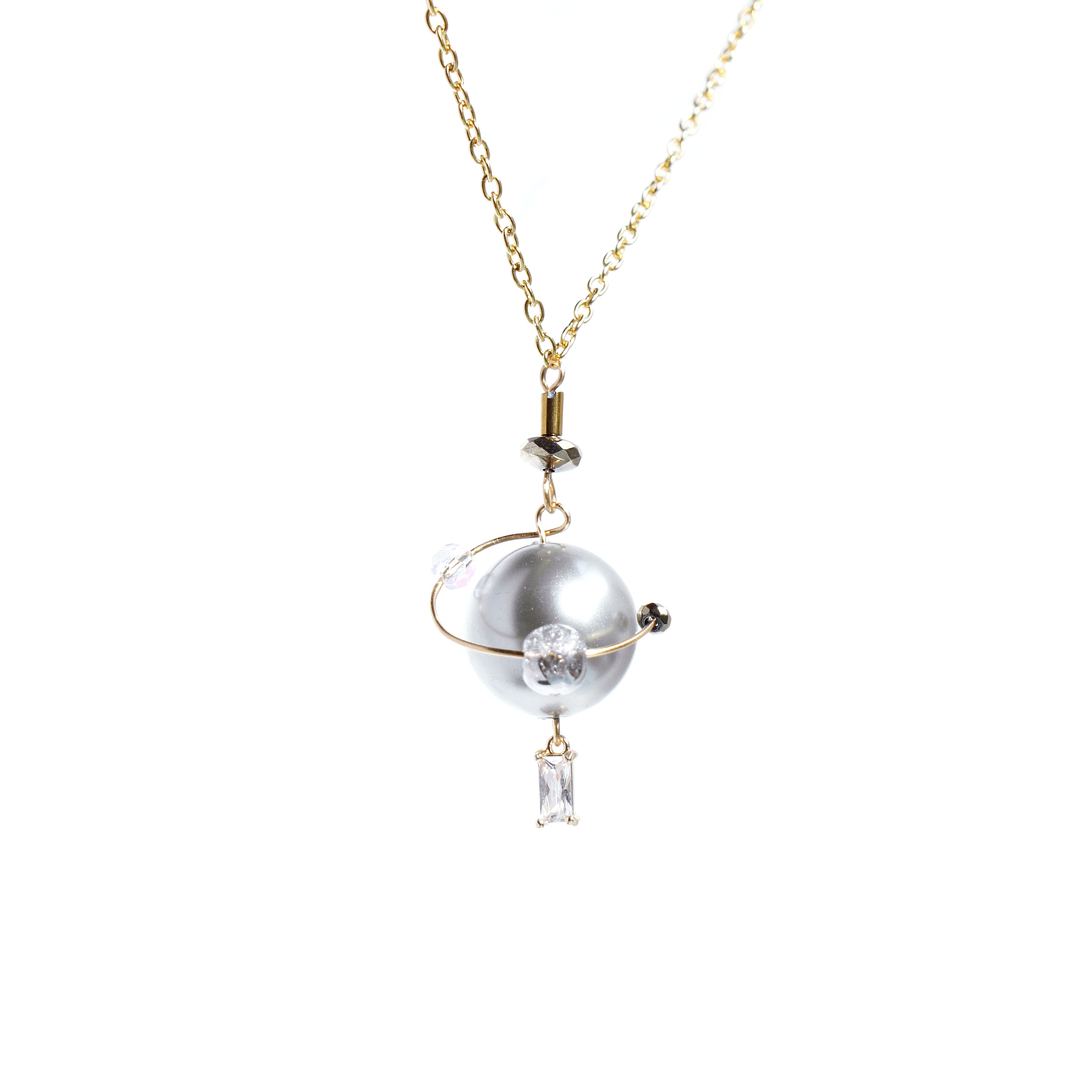 In My Orbit Pearl and Crystal Charm Necklace