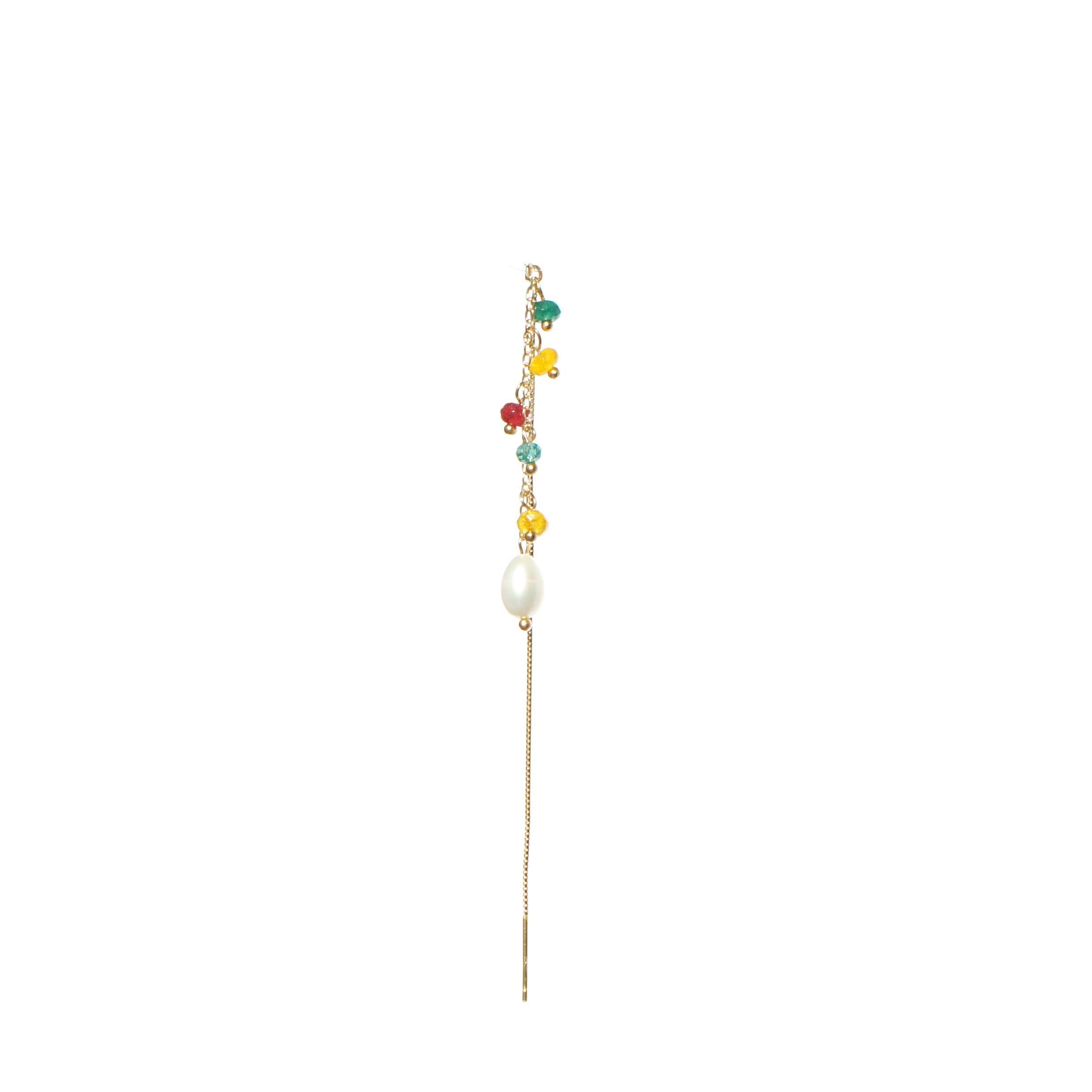 Akiko Gem-embellished 18k Gold Vermeil Threader Earring