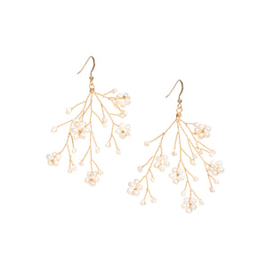 Soft Rime Freshwater Pearl Flower Drop Earrings