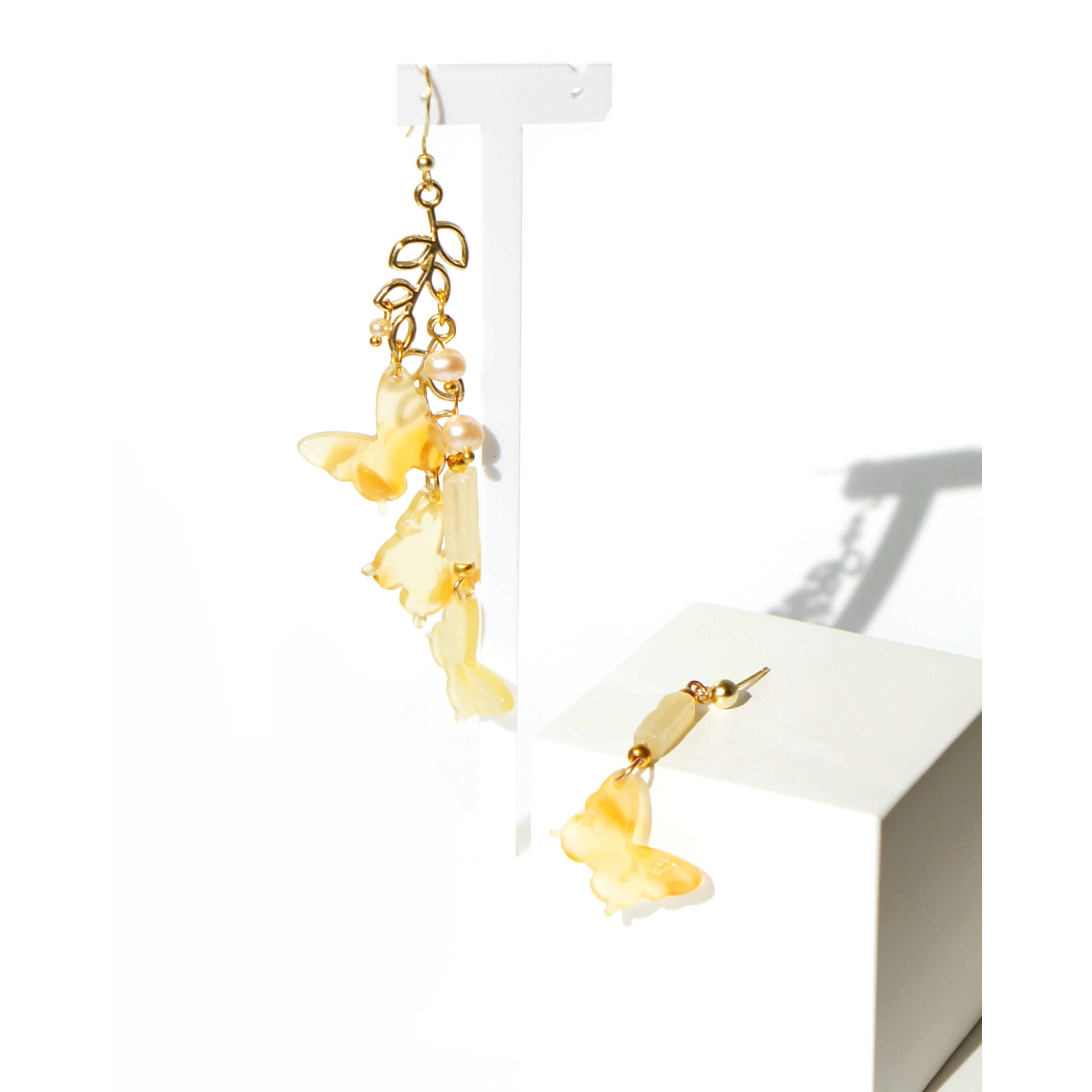 Vanora Asymmetrical Butterfly Drop Earrings, Gold Vermeil