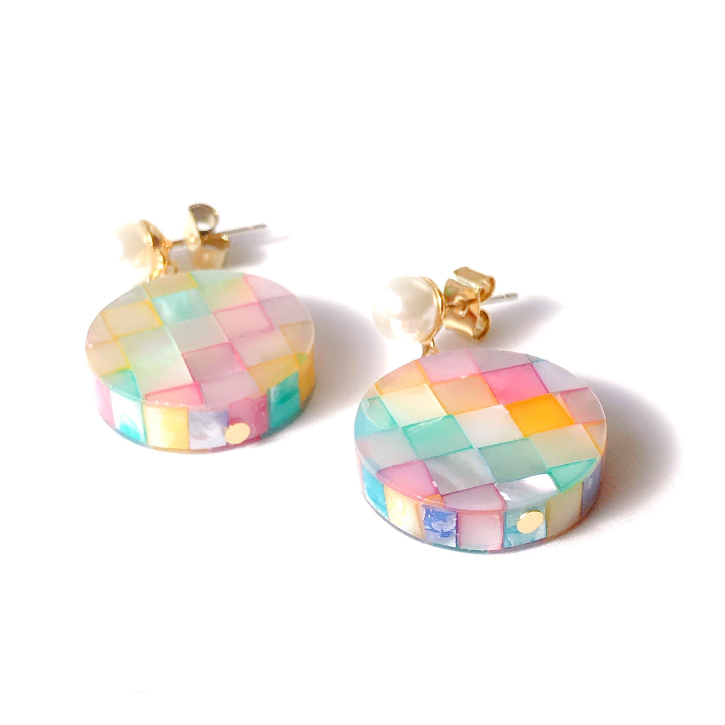 Over the Rainbow Mosaic Mother of Pearl Drop Earrings