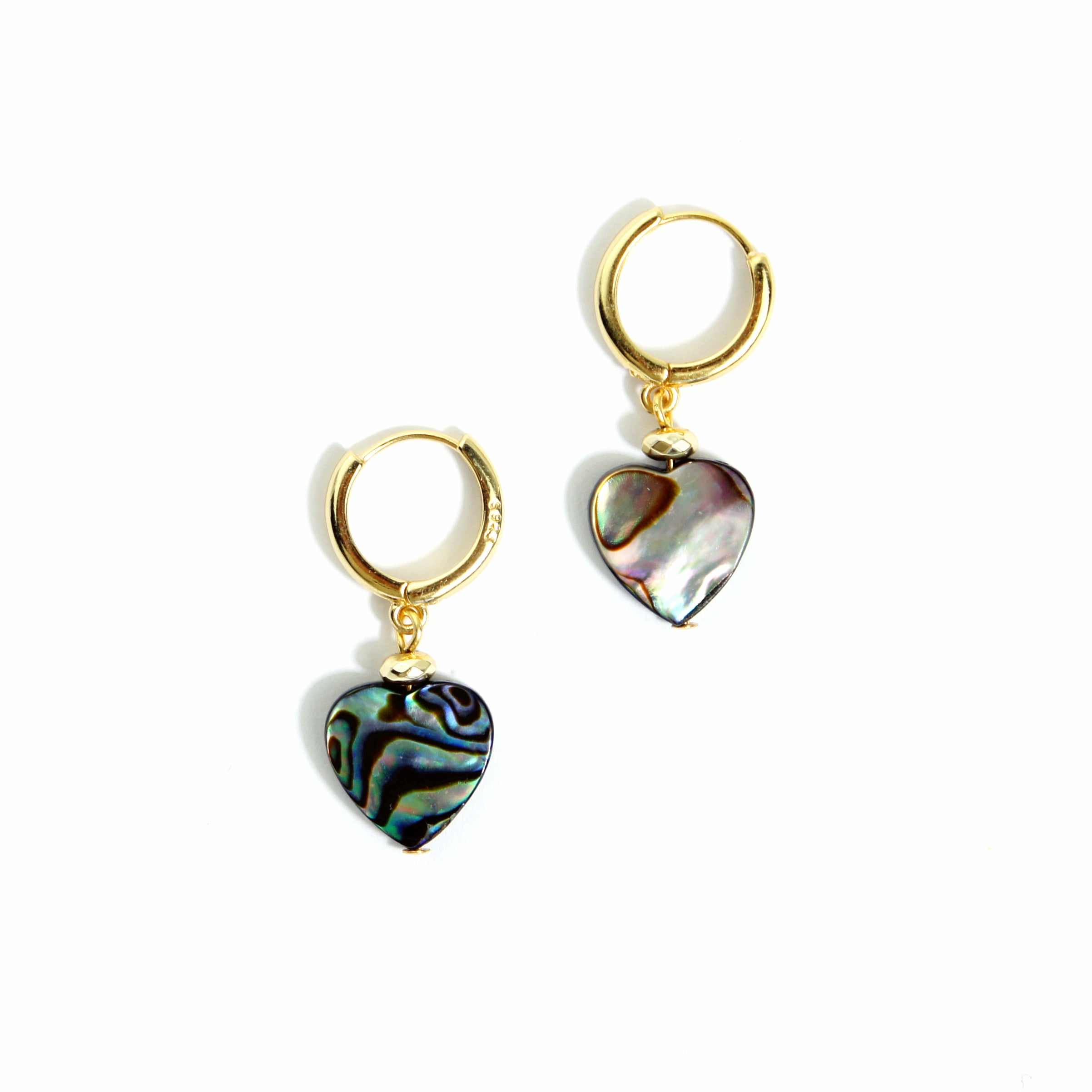 Amoretti 18K Gold Vermeil Huggie Hoop Earrings w/Mother of Pearl Heart Charm