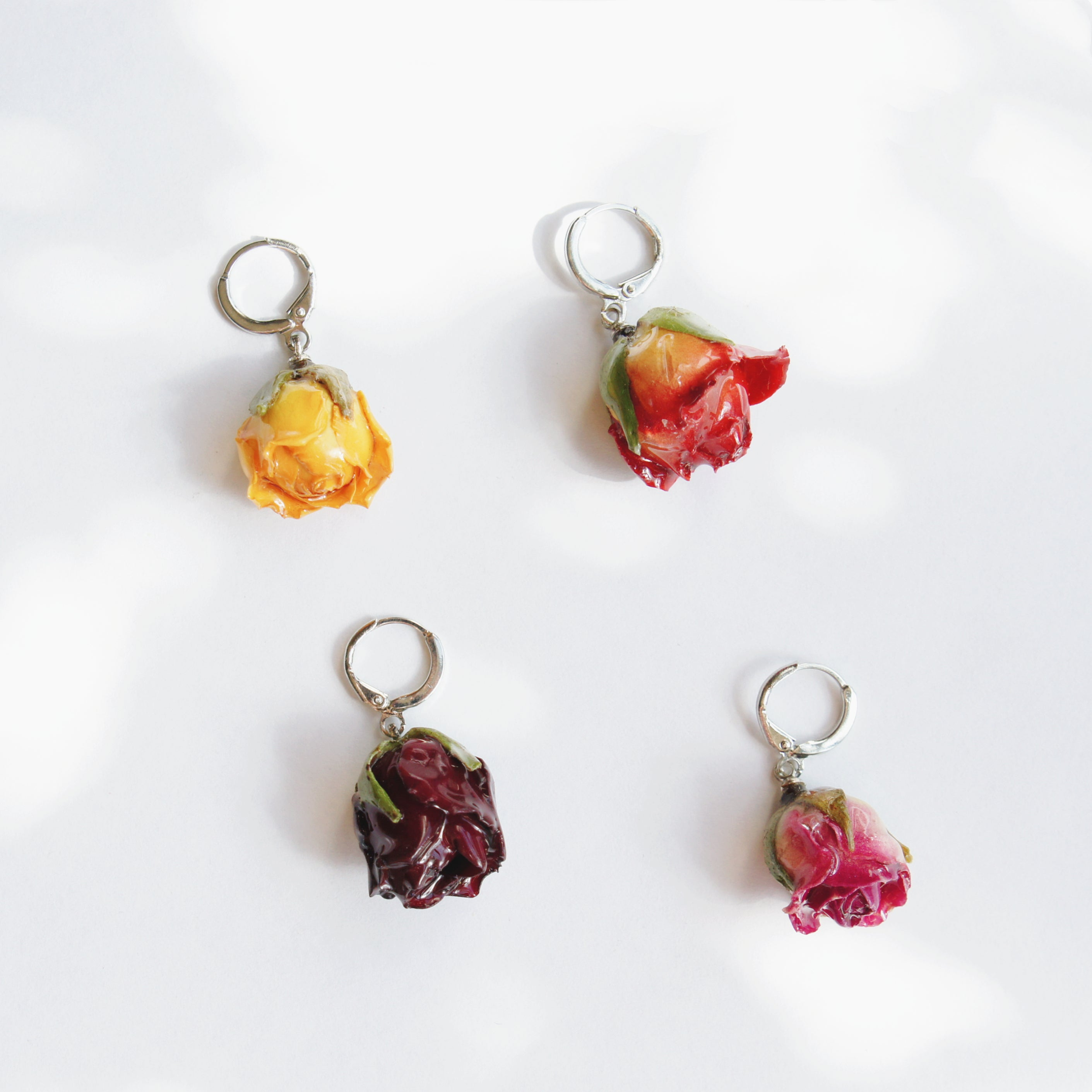 *REAL FLOWER* Garden Rosebud Single Huggie Hoop Earring