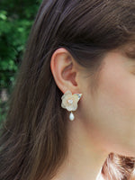 Load image into Gallery viewer, Aneesa Hydrangea Flower and Pearl Drop Earrings