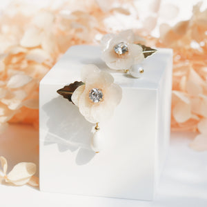 Aneesa Hydrangea Flower and Pearl Drop Earrings