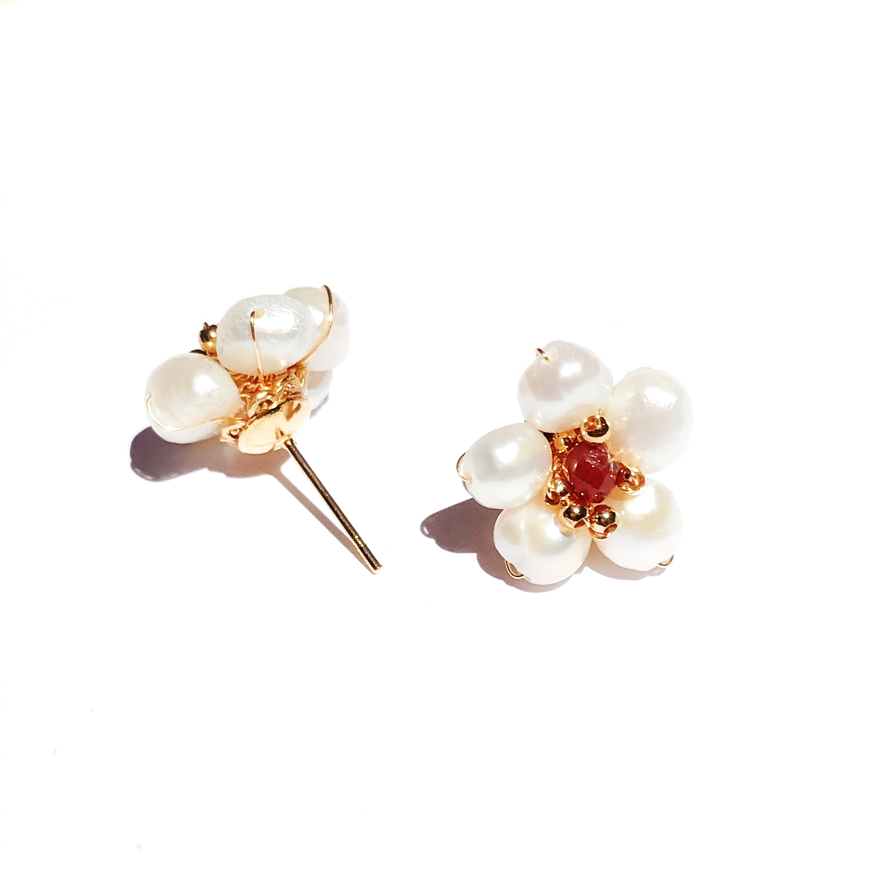Rosemallow Freshwater Pearl and Red Garnet Stud Earrings