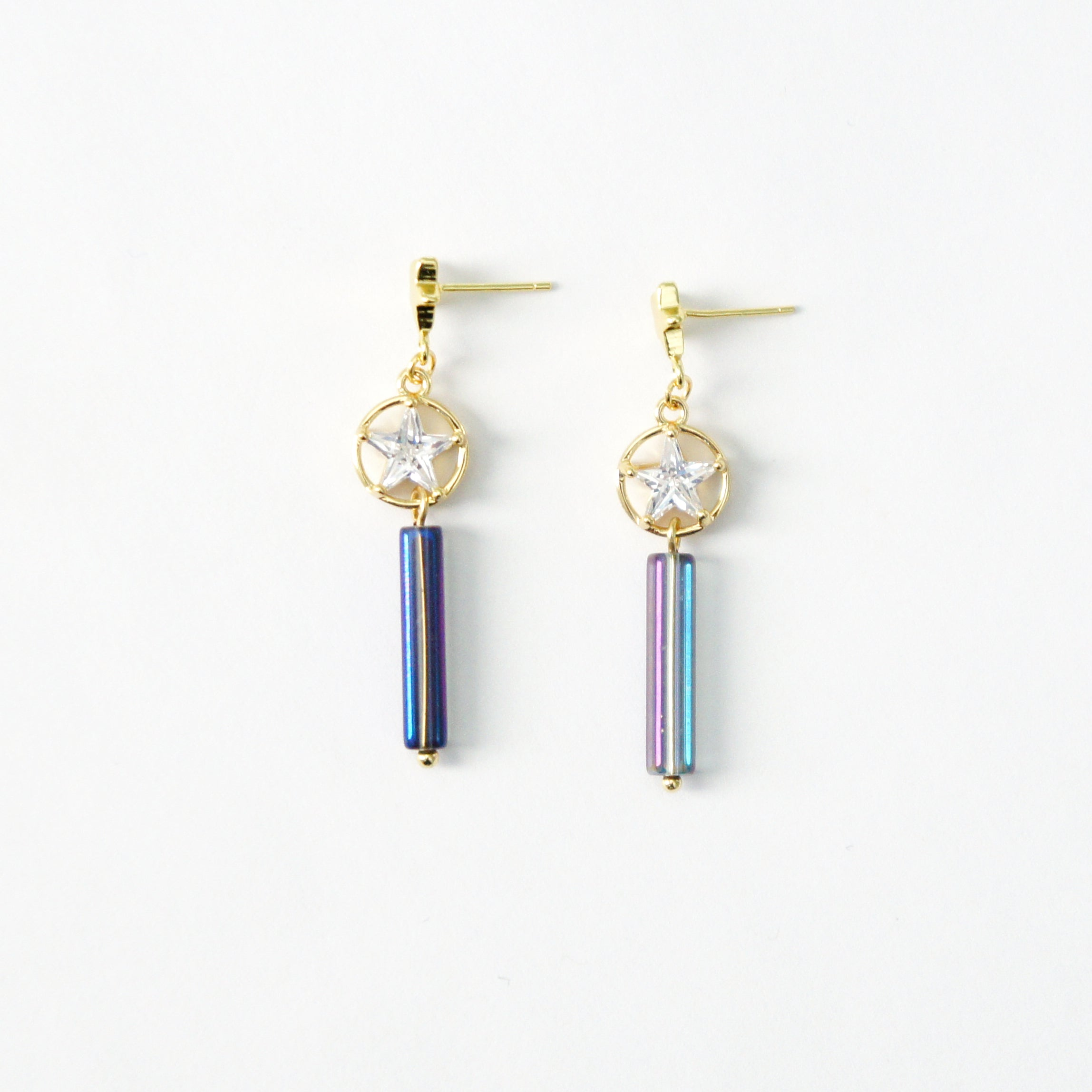 Starry Night Metallic Hologram Bar Drop Earrings