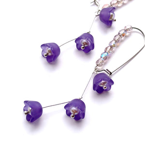 Midsummer Night's Dream Violet Flower Drop Earrings