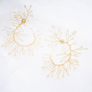 Soft Rime Pearl-embellished Curved Branch Drop Earrings