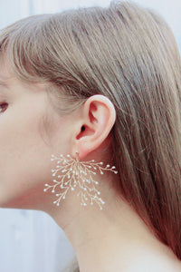 Soft Rime Bead-embellished Branch Drop Earrings