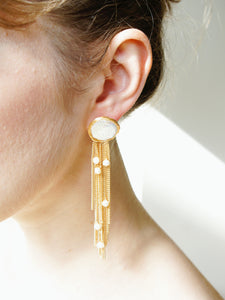 Fonda Round Baroque Pearl Chain Tassel Earrings