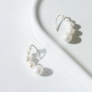 Caterpillar Pearl Earrings, Sterling Silver