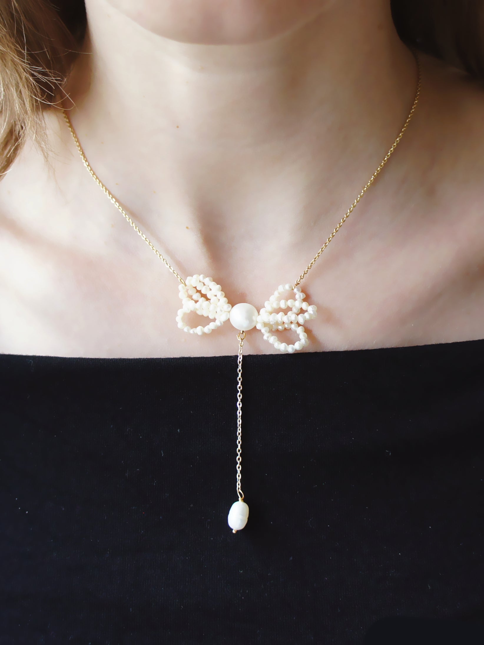 Bonnie Freshwater Pearl Bow Necklace