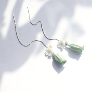 Lilian Lily of the Valley Threader Earrings, Gold Vermeil-Sterling Silver