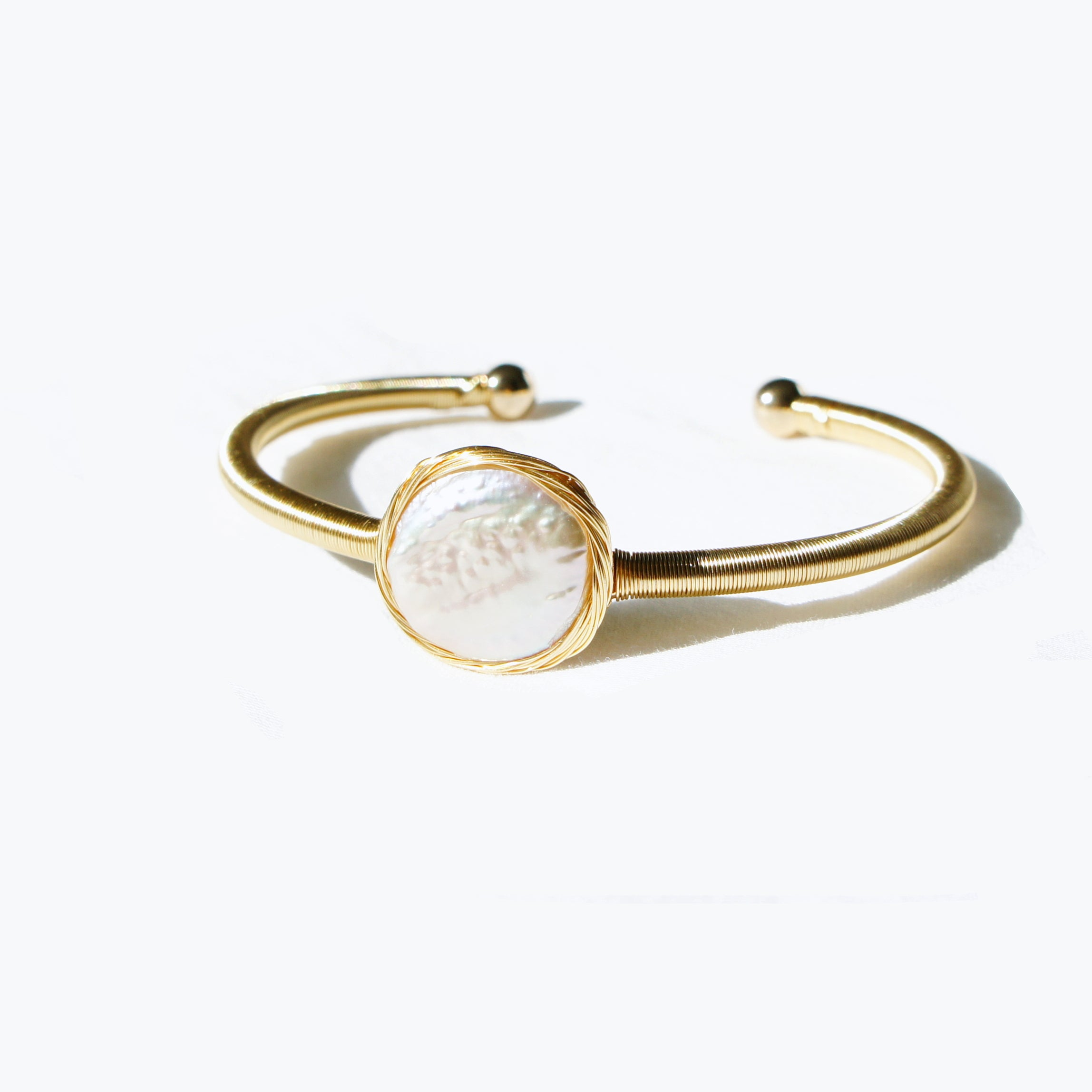 Fonda Baroque Pearl Open Bangle-Bracelet