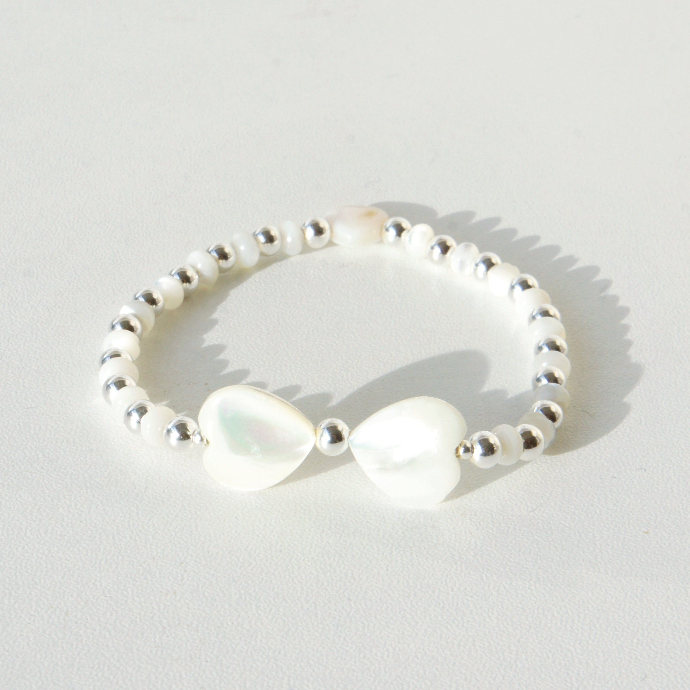 Amoretti Double Heart Bracelet, Mother of Pearl & Sterling Silver