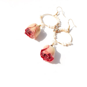 Bella Rosa Rosebud Drop Earrings with Freshwater Pearls