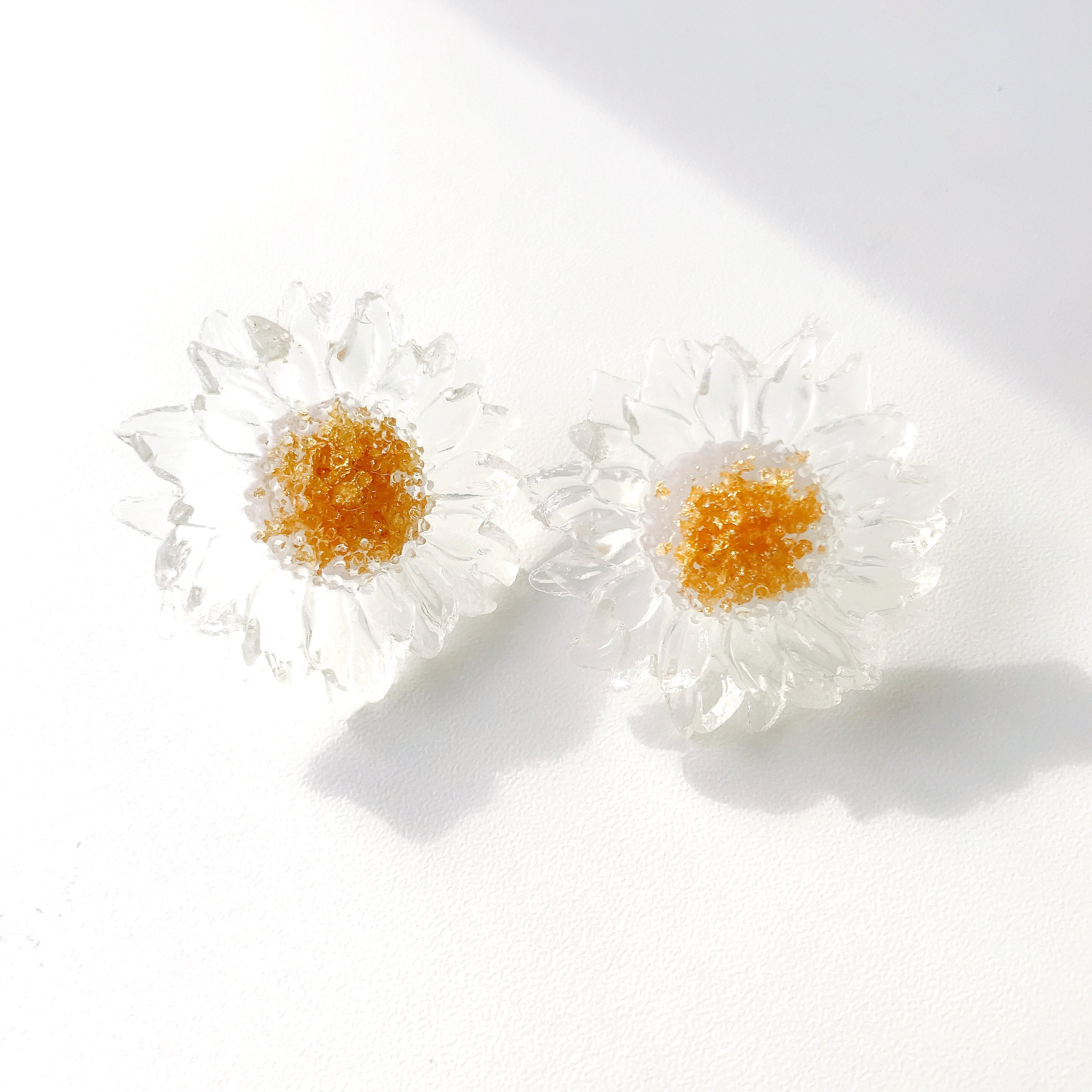 Clear Resin Daisy Stud Earrings