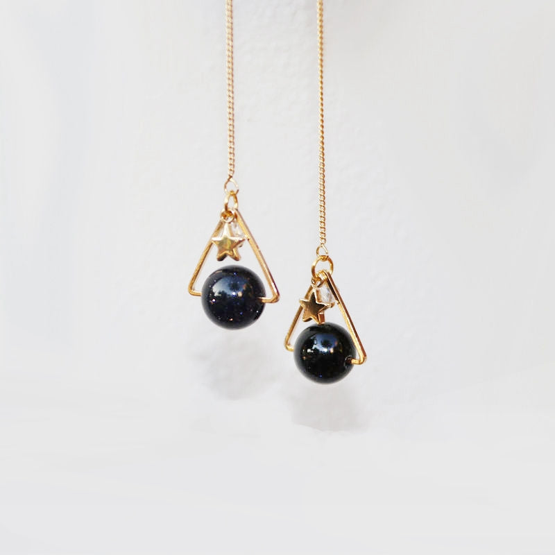 Starry Night 18k Gold Vermeil Threader Earrings w-Blue Sandstone