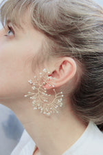 Load image into Gallery viewer, Soft Rime Pearl-embellished Curved Branch Drop Earrings