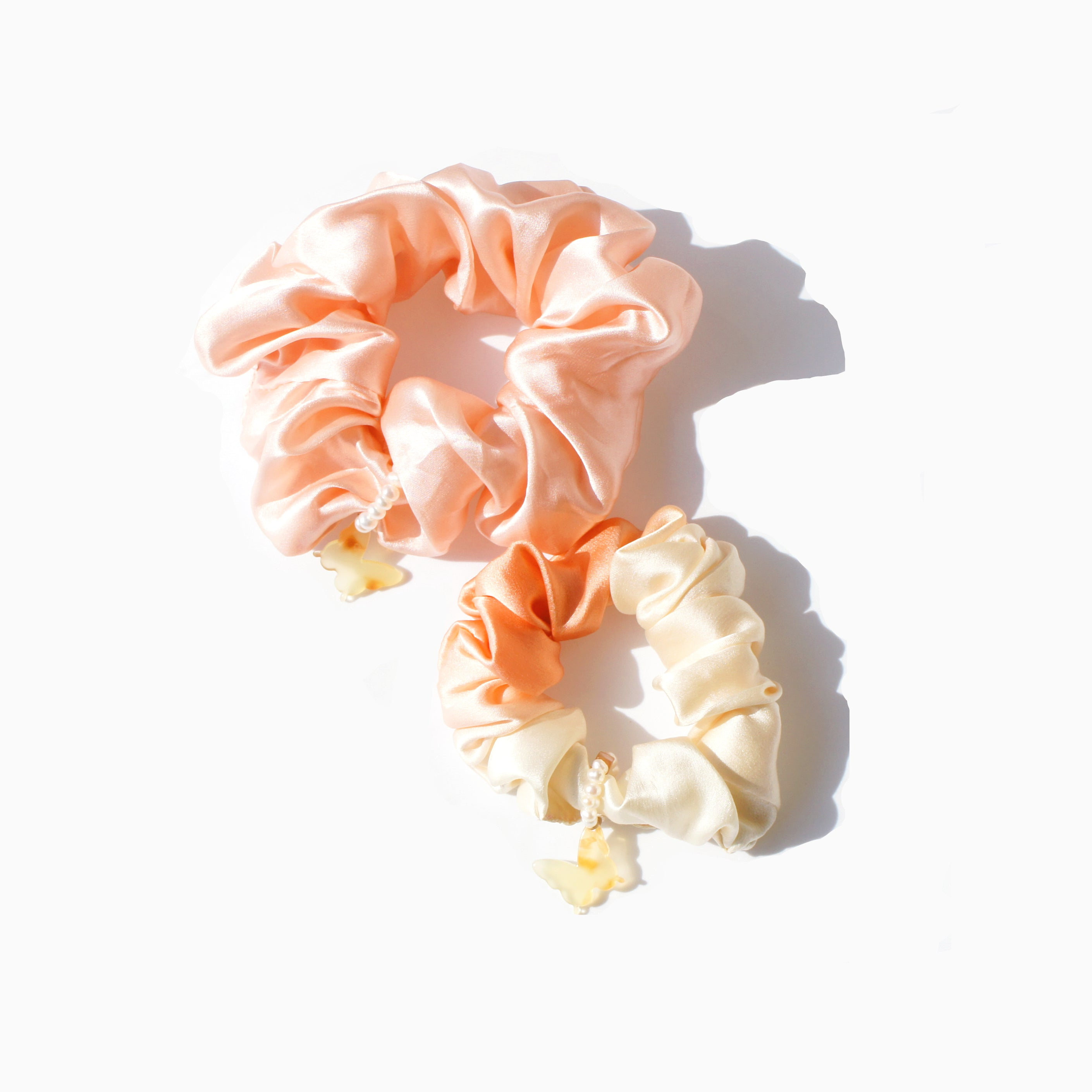 Pure Mulberry Silk Scrunchie Duo, w-Butterfly & Freshwater Pearls